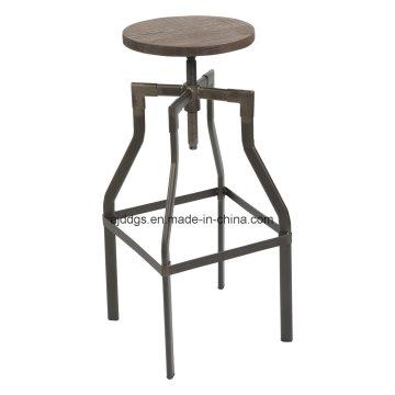 Tamborete de barra ajustável alta de tubo de ferro de assento de madeira