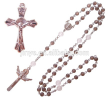 Forme el collar cristalino ahumado de las gotas del rosario del cristal ahumado natural de la manera