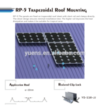Trapezoide Metal Roof Panel solar Rack de montaje