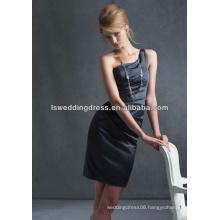 HB2005 Black simple plain ruched satin sheath above knee length short sexy cheap zipper back one shoulder bridesmaid dress