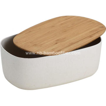 Smooth rectangle bamboo fiber bread box