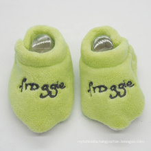 Green embroidery coral fleece winter baby slipper wholesale toddler shoes