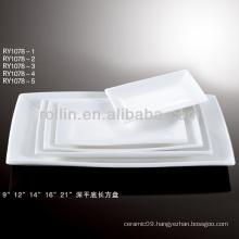 special deep white porcelain rectangular flat plate