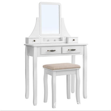 White Dresser Vanity Makeup Set Oval Mirror Dressing Table with Stool