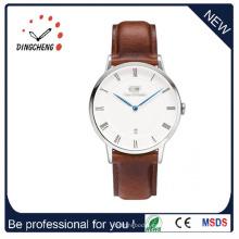 Reloj clásico para hombres con correa de cuero marrón