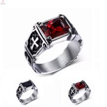 Титан серебро из нержавеющей стали 316L выгравированы крест кольца для мужчин