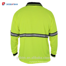 2018 New 1 Chest Pocket High Visibility Reflective Clothes Security uniform Long Sleeve Hi Vis Polo Shirts