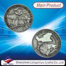 2013 o metal de bronze antigo o mais novo da prata do ouro / medalhas comemorativas da moeda medalhas com seu próprio projeto do logotipo, moeda gravada 3D com embalagem da caixa de veludo para lembranças