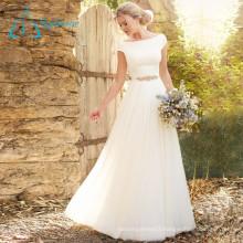 Sashes Crystal Beading Button Satin Chiffon Wedding Dress