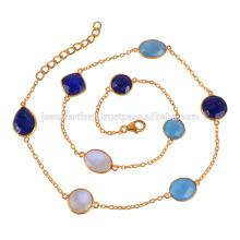Collar de plata plateado oro 18K con ónix azul, Lapis y arco iris