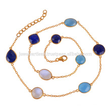 18K Gold Plated Silver Necklace With Blue Onyx, Lapis and Rainbow