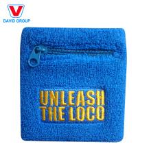 100% Cotton Custom pocket Wristband with zipper