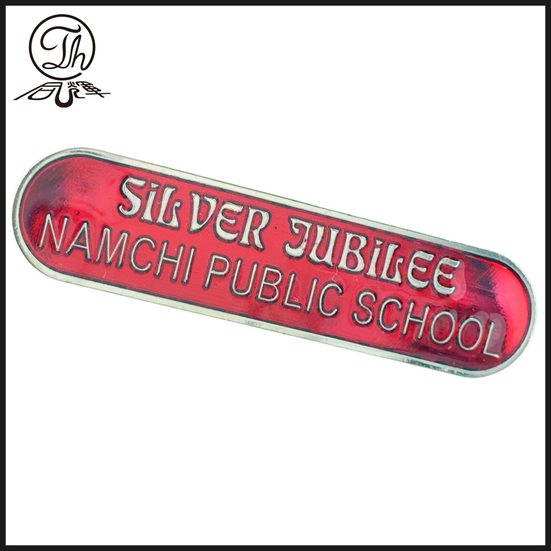 Metal nameplate for school