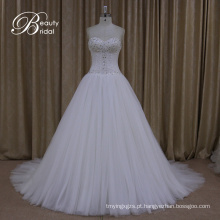 Vestidos de casamento Arco de cristal Sash Lace nupcial A Line Gown