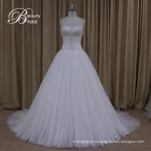 Свадебные Платья Кристалл Лук Sash Кружева Свадебные Бальное Платье