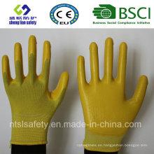 Escudo de poliéster con guantes de trabajo revestidos con nitrilo (SL-N105)