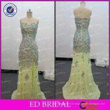 ED Sexy Sparkle Wholesale Sweetheart Neckline Low Back Chiffon Crystal Beaded Side Slit Evening Dress 2017