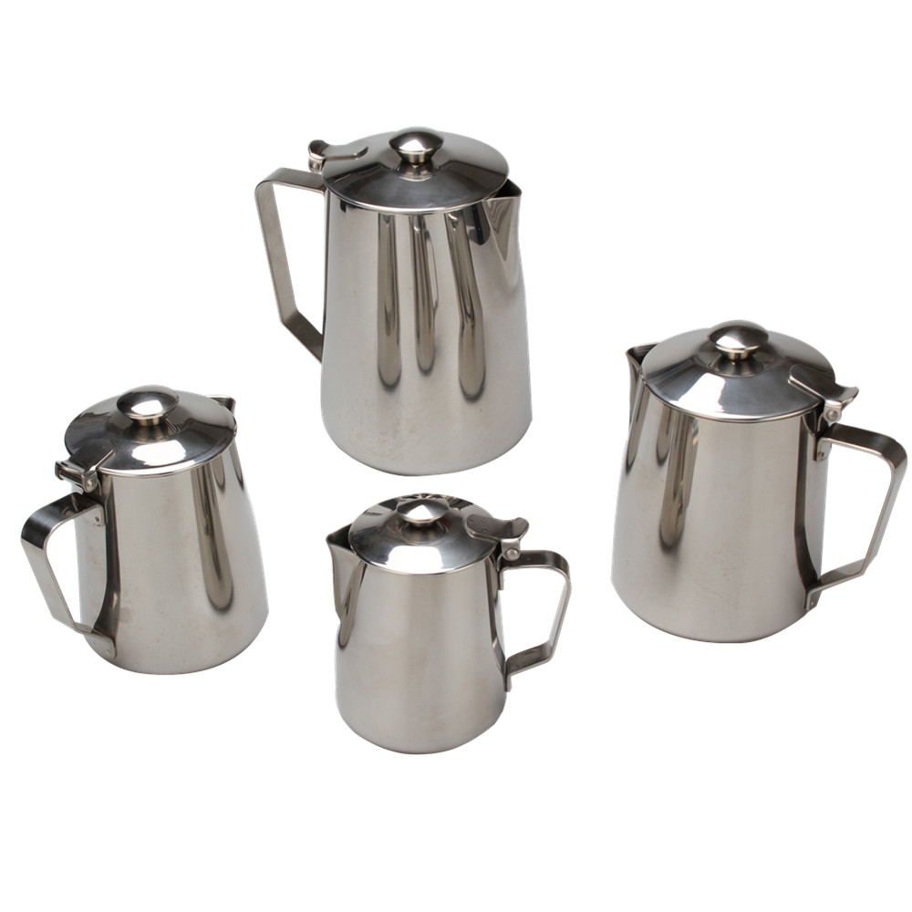 Stainless Steel Milk Frother Pitcher With Lid