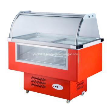 Congelador de exibição de sorvete pequeno 12 sabores