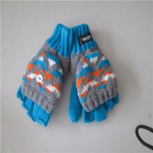 de punto Jacquard Flip Top guantes los hombres