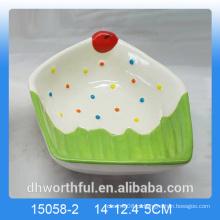 Bacia de fruta de cerâmica de decoração de casa com icecream figurine