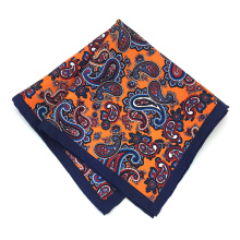 Wholesale Silk Paisley Screen Print Orange Men's Pocket Squares