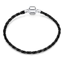 Einfache Design Mode Frauen Armband aus Leder Frauen Armreif schwarz Leder Armband