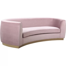 New design furniture couch pink velvet sofa in gold stainless steel base for event wedding