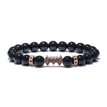 Bat Charm Natural Agate Stone Beads Mens Bracelet