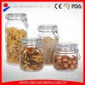 Ясное стекло Candy Jar Set 4 стеклянных банках Cookie оптом с крышкой