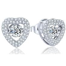 Heart 925 Silver Stud Earring Micro Setting Jewelry Dancing Dimond