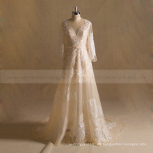 Elegante una línea de mangas largas Boho vestido de novia de encaje con tren de la capilla