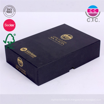 paquet de boîte-cadeau de papier noir de haute qualité pour le livre