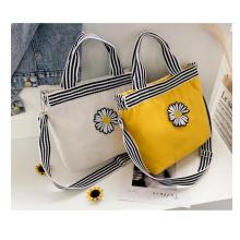 Fashion cute daisy preppy style handbag high quality cotton canvas shopping crossbody bag