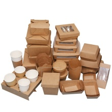 ecofriendly kraft paper box takeaway kraft paper box vintage paper drawer box kraft for soup salad fast food take away to go