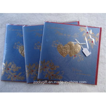 Heart Gold Stamping Ivory Board Hand-Made Greeting Gift Cards with Red Envelop
