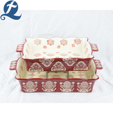 Exquisite quadratische Perlen Edge Fancy Printed Ceramic Bakeware