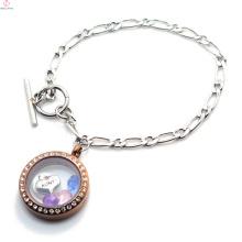 Benutzerdefinierte Edelstahl 1: 1 NK Chain Schwimm Medaillon Armband, Silber & Chocolate Medaillon Armband