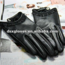 Black Leather Woman Touch Screen Gloves