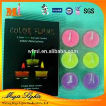 Elegante Farbflamme Teelicht Kerzen im Papierkasten