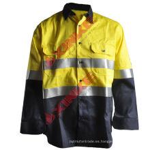 Color Blocking camisas de trabajo de protección solar de manga larga hechas de tela anti-UV de algodón