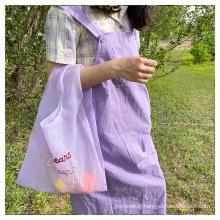Wholesale new summer fairy style organza embroidery logo environmentally friendly convenient shopping bag organza bag