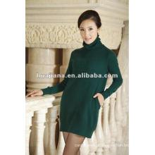 Senhoras elegantes que tricotam o vestido da camisola / caxemira 100% pura