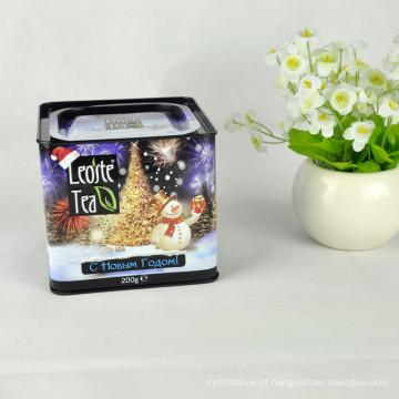 Chá Verde Chinês Tin, Square Black Tea Tin, estanho hermético