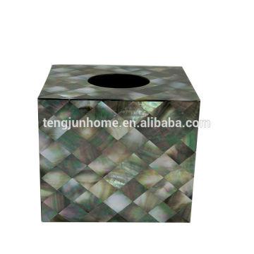 Black MOP shell tecido caixa caixa de tecido acrílico
