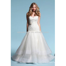 Flawless 2014 Sweetheart Lace Top Bodice Tiered Skirt Sexy Low Backless A-Line Organza Robes de mariée Robes NB015