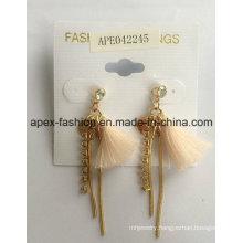 Fashion Jewelry Woven Earrings with Metal Tassel