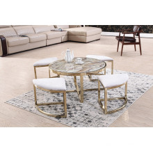 Marco de acero inoxidable cepillado + Mesa de centro de mesa de mármol