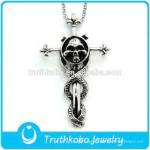 Épée de croix crucifix en acier inoxydable L-P0003 charmante avec pendentif tête de mort