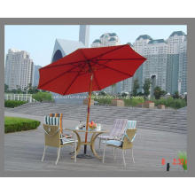 Wooden Tilt Pole 8ribs Red Fabric Umbrella